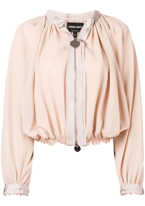 Giorgio Armani cropped jacket with ruched design - Neutrals