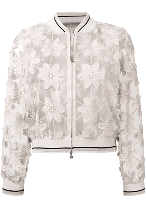D.Exterior sheer floral embroidered jacket - Neutrals