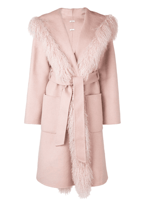 P.A.R.O.S.H. fur trim belted coat - Pink