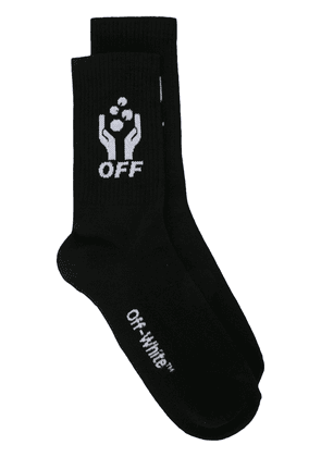 Off-White hands logo socks - Black