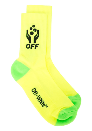 Off-White hands logo socks - Yellow