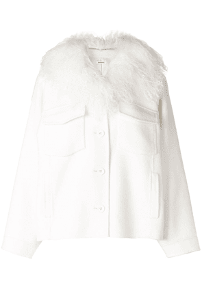 P.A.R.O.S.H. fur collar buttoned jacket - White