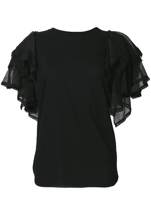 Twin-Set tulle sleeve T-shirt - Black