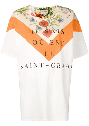 Gucci floral panel print oversized T-shirt - Neutrals