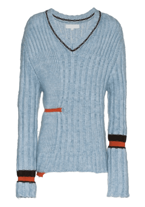 Helen Lawrence Chunky mohair and merino V-neck jumper - Blue
