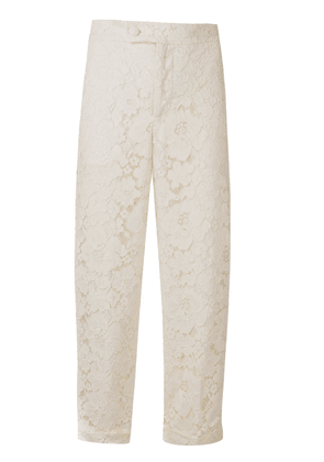 Twin-Set floral lace cropped trousers - Neutrals