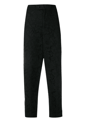 Twin-Set floral lace cropped trousers - Black