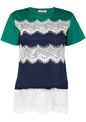 Twin-Set lace panel T-shirt - Blue