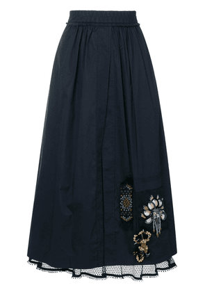 Dorothee Schumacher lace underlayer embellished skirt - Blue