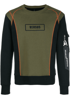 Versus contrast panel logo sweatshirt - Green
