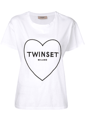 Twin-Set embroidered logo heart T-shirt - White