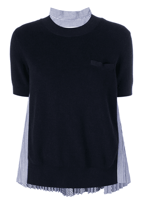 Sacai pleated back knitted top - Blue