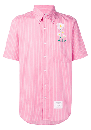 Thom Browne Embroidered Daisy Pinstripe Shirt - Pink