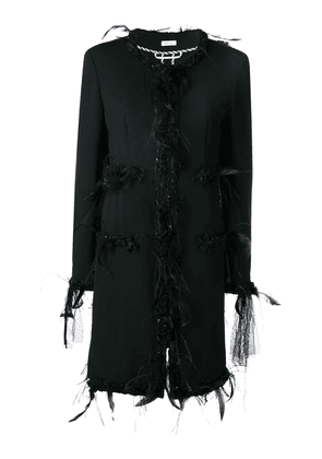 Thom Browne Appliqué Oversized Cardigan Overcoat - Black