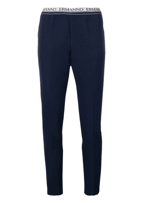 Ermanno Ermanno cropped logo trousers - Blue