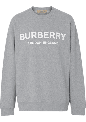 Burberry Logo Print Cotton Sweatshirt - Grey