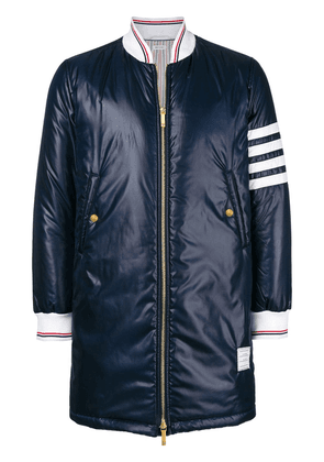 Thom Browne 4-Bar Down Fill Long Ripstop Bomber - Blue