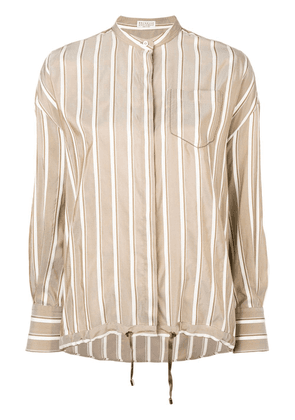 Brunello Cucinelli striped drawstring hem shirt - Neutrals