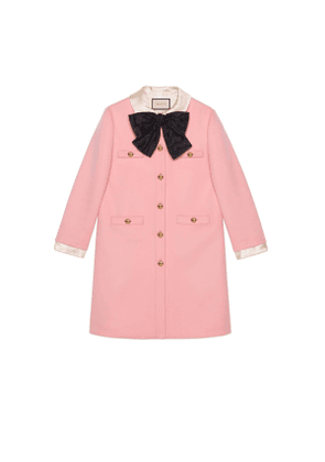 Wool coat with bow