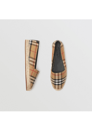 Burberry Vintage Check and Leather Espadrilles, Yellow