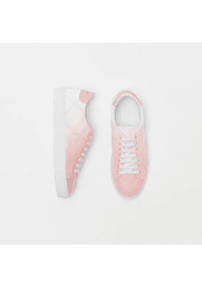 Burberry Perforated Check Dégradé Leather Sneakers, Pink
