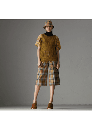 Burberry Vintage Check Wool Tailored Culottes, Yellow