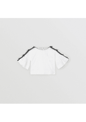 Burberry Childrens Lace Trim Embroidered Cotton Top, White