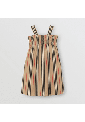 Burberry Childrens Smocked Icon Stripe Cotton Dress, Size: 10Y, Archive Beige