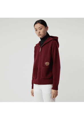 Burberry Embroidered Crest Cashmere Hooded Top