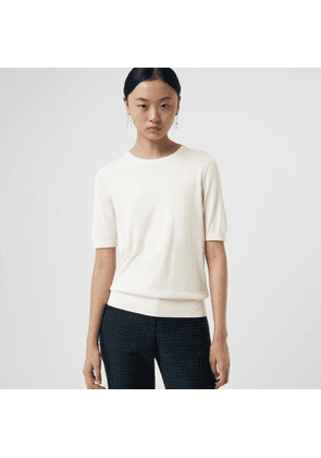 Burberry Short-sleeve Silk Cashmere Sweater, White