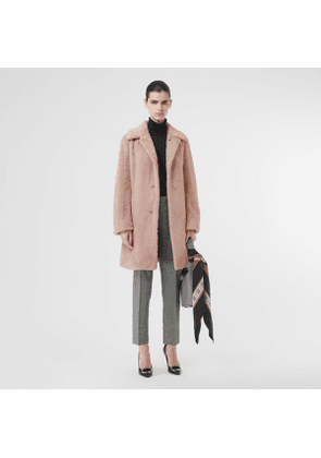 Burberry Faux Fur Single-breasted Coat, Pale Blush