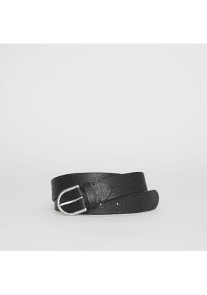 Burberry D-shaped Buckle Grainy Leather Belt, Black