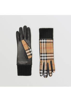 Burberry Cashmere-lined Vintage Check and Lambskin Gloves, Yellow