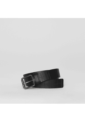 Burberry Perforated Check Leather Belt, Black