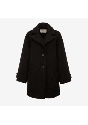 Bally Faux Shearling Coat Black, Women's faux shearling coat in black