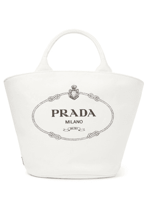 Prada - Leather-trimmed Printed Cotton-canvas Tote - White