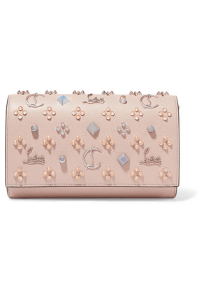 Christian Louboutin - Paloma Embellished Textured And Patent-leather Clutch - Baby pink