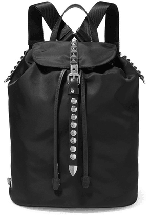 Prada - Vela Studded Leather-trimmed Shell Backpack - Black