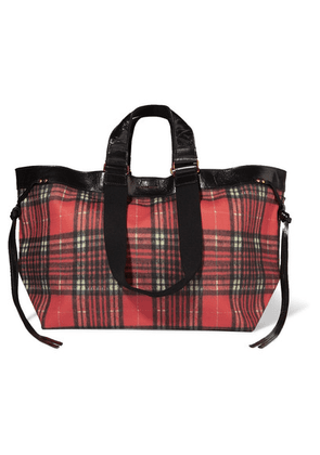 Isabel Marant - Wardy Leather-trimmed Tartan Coated-canvas Tote - Red