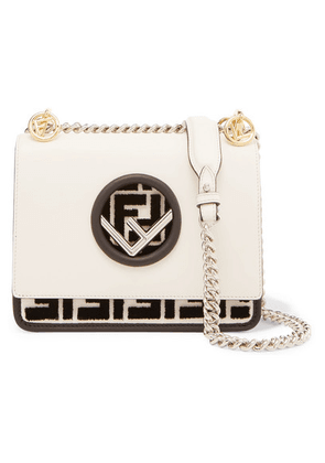 Fendi - Kan I Small Flocked Leather Shoulder Bag - Off-white