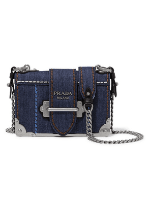 Prada - Cahier Small Denim Shoulder Bag - Blue