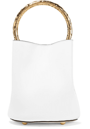 Marni - Pannier Small Leather Bucket Bag - White