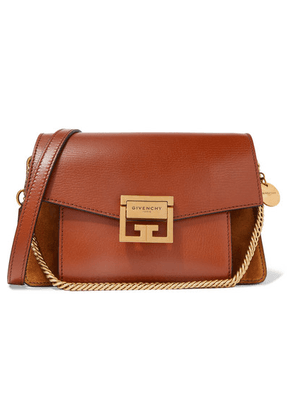 Givenchy - Gv3 Small Textured-leather And Suede Shoulder Bag - Tan