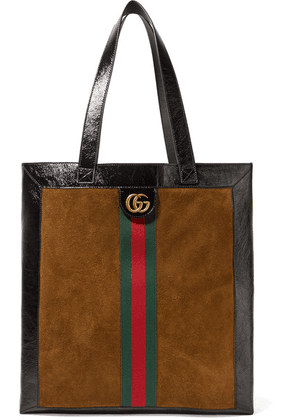 Gucci - Ophidia Medium Patent Leather-trimmed Suede Tote - Tan