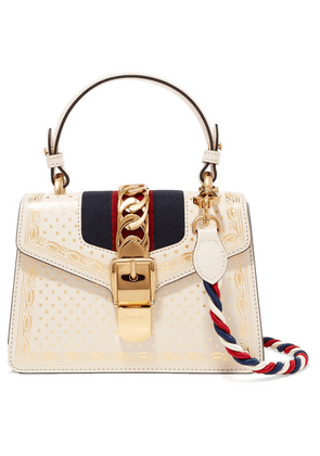 Gucci - Sylvie Mini Chain-embellished Printed Leather Shoulder Bag - White