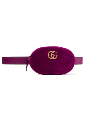 Gucci - Gg Marmont Quilted Velvet Belt Bag - Plum