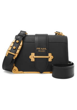 Prada - Cahier Leather Shoulder Bag - Black