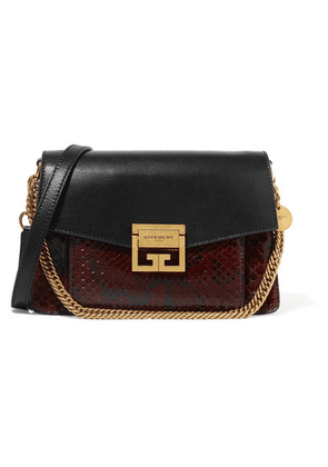 Givenchy - Gv3 Small Leather And Python Shoulder Bag - Dark brown