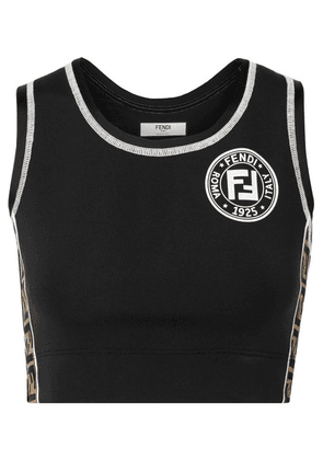 Fendi - Cutout Jacquard-trimmed Stretch Sports Bra - Black