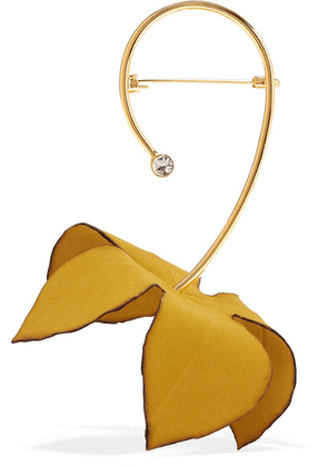 Marni - Gold-tone, Cotton-canvas And Crystal Brooch - Mustard